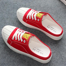 New men shoes semi-tow canvas breathable comfortable flat bottom casual wear non-slip design