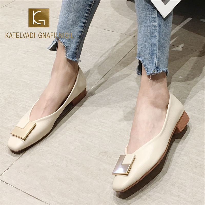 KATELVADI Thick Heel Shoes Women New Style Top Quality PU Comfortable Square Toe Shoes JN0028