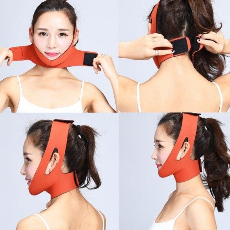 Pink/Orange Face V-Line Lift Up Belt Cheek Chin Neck Facial Thin Belt Face lift Bandage & Slimming Bandage for Face Shaping