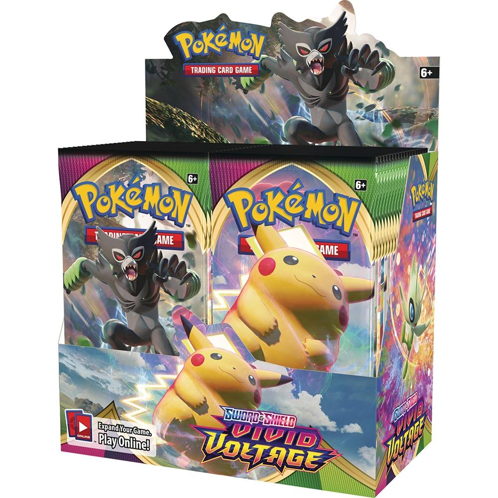 Mais novo 360 pçs pokemon cards espada e escudo vívido tensão pokemon booster caixa collectible trader cartão jogo de brinquedo para crianças