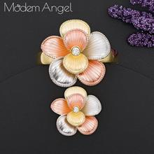 ModemAngel New Arrival Luxury Flower Blossom Women Wedding Naija Bridal Cubic Zirconia Bangle Ring Set Fashion Dress Jewelry Set