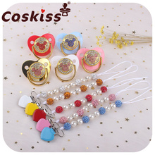 Coskiss 1set Baby Pacifier Clips Handmade Crystal Love Heart Pacifier Chain Holder Baby Shower Teether Teething Chain Gifts