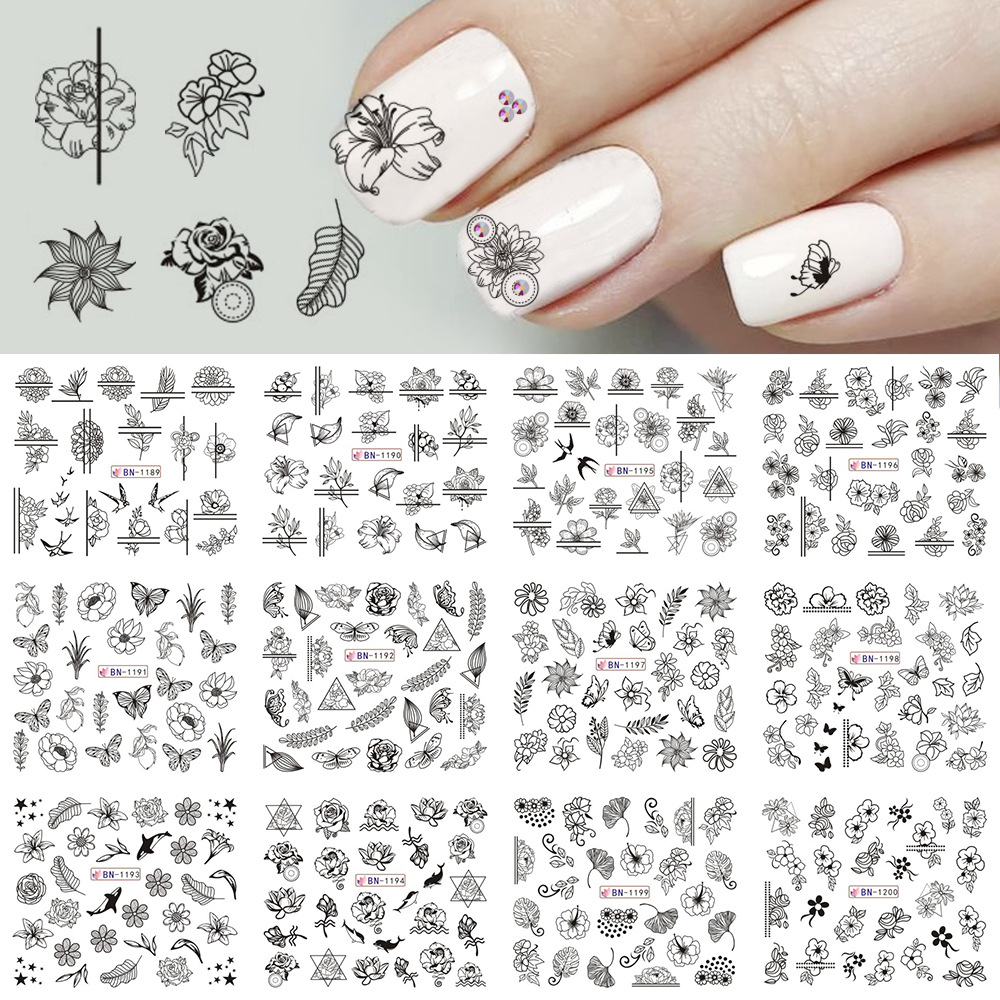 New Style Manicure Watermarking Adhesive Paper Black And White Matching Color Varved Rose Leaf Animal Nail Sticker Nail