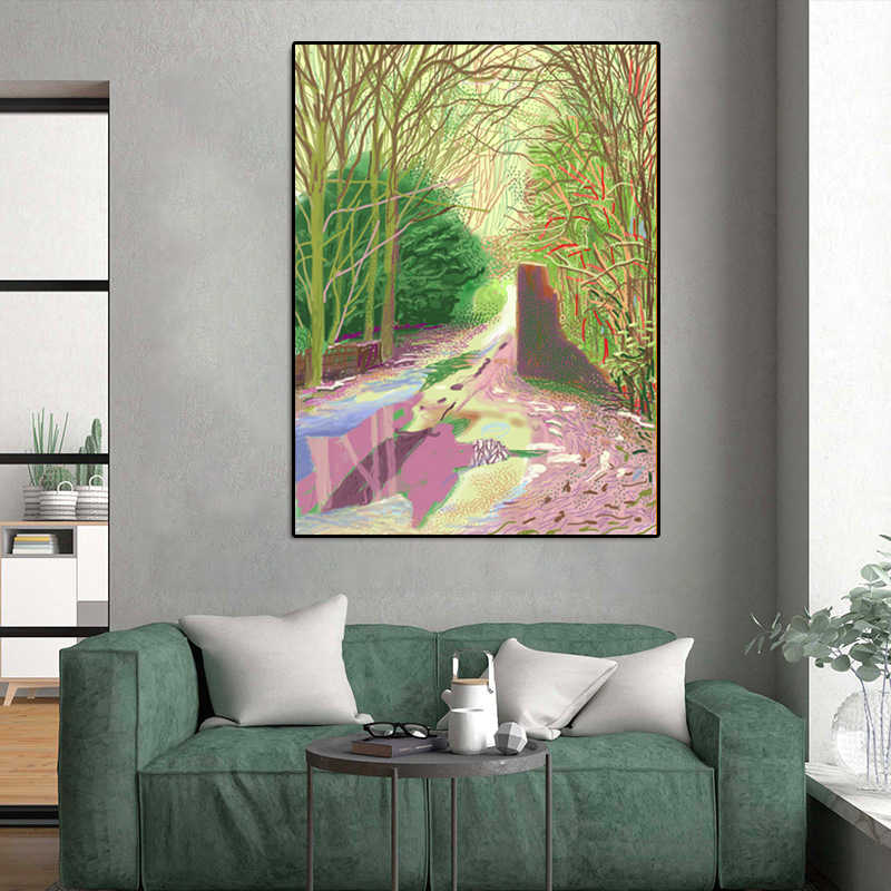 David Hockney Poster Landscape Wall Art oil painting Guadros Posters and Prints on Canvas Wall Pictures for Living Room Unframed