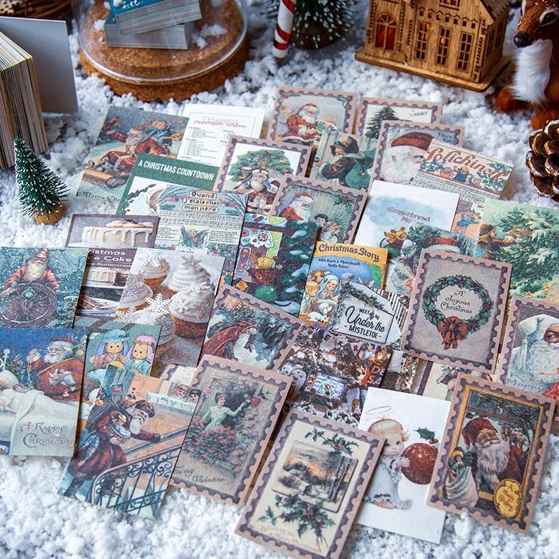 VanYi 100pcs/box Vintage Christmas Gift Material Paper Scrapbooking Making Journaling Project DIY Di