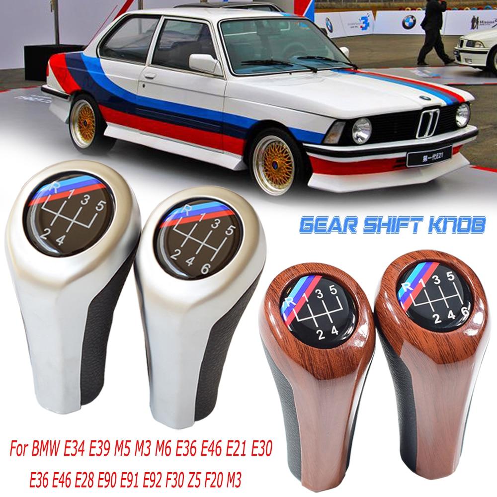 AUTOTU Coche Pomo Palanca de Cambios E34 E36 E38 E39 E46 E53 E60 E61 E63 E64 E83 E90 E91 E92 E93 3 Series 5 Series X1 X3 X5 6 Velocidades
