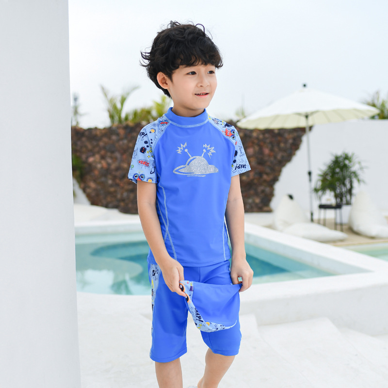 Korean-style Boy KID'S Swimwear Children Baby Short Sleeve Split Type Sun-resistant Quick-Dry Boxers Swimwear With Swim Cap