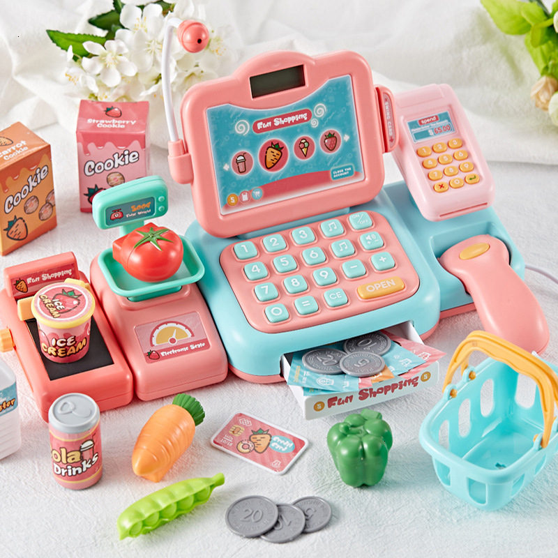 Kids Pretend Play Shopping Toys Simulation Supermarket Electronic Cashier Cash Register Children's Role Play Game Toys