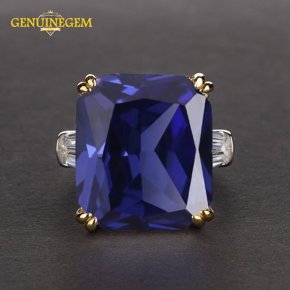 GENUINEGEM Classic Sapphire Emerald Ruby Rings For Women Men Luxury 14x16mm Gemstone Silver 925 Jewelry Wedding Anniversary Ring