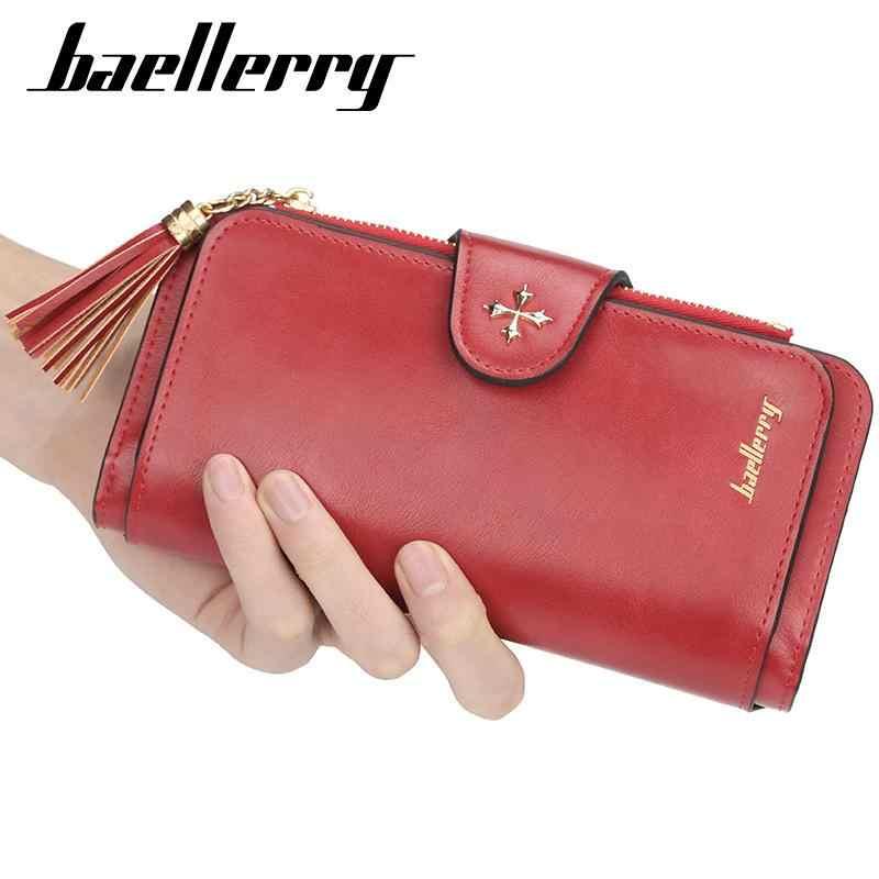 Cartera de marca de lujo para mujer, cartera larga, bolso de mano para mujer, bolso de mano de cuero PU, tarjetero para teléfono, portefeulle para mujer, BK6