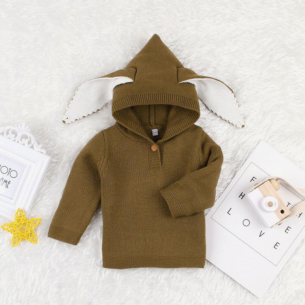 Baby Toddler Kid Little Girls Rabbit Ears Winter Warm Wool Knit Sweater Jacket Outwear