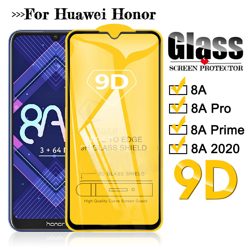 9D full glue Tempered Glass For Honor 8a pro prime 2020 Protective Glass Screen Protector For Huawei