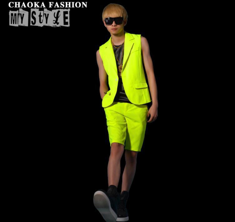 men vest set Fluorescent yellowish green clothing camiseta personalized singer dance stage street star style dress