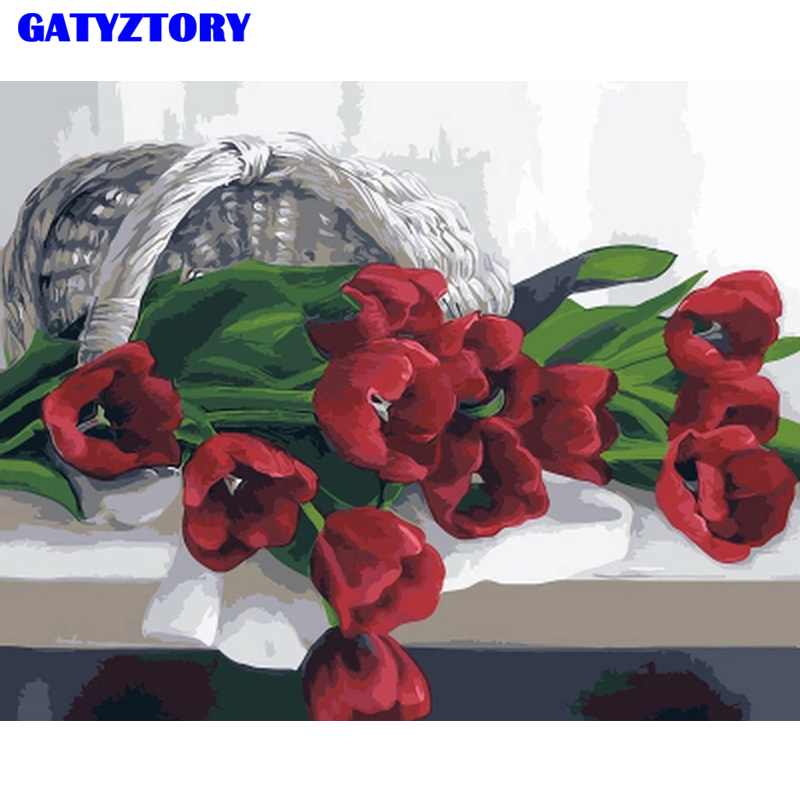 GATYZTORY Framed DIY Painting By Numbers Handpainted Oil Painting Red Fowers Kits Paint By Numbers Modern Wall Art Picture