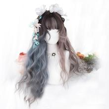 Wig--Cap Lolita Blue Hair Heat-Resistant Cosplay Ash-Purple Long-Wavy Ombre Synthetic