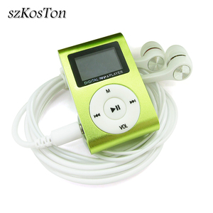 Image 1 - Sports de lecteur MP3 de Mini agrafe en métal décran daffichage à cristaux liquides avec la fente Micro de TF/SD avec lécouteur et le câble dusb lecteurs de musique MP3 portatifs