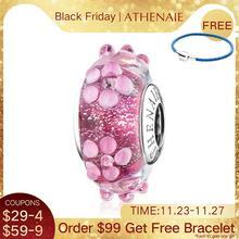 ATHENAIE 100% 925 srebro różowe koraliki ze szkła Murano kwiat Charms Fit kobiety bransoletka i bransoletka naszyjnik biżuteria dziewczyna prezent