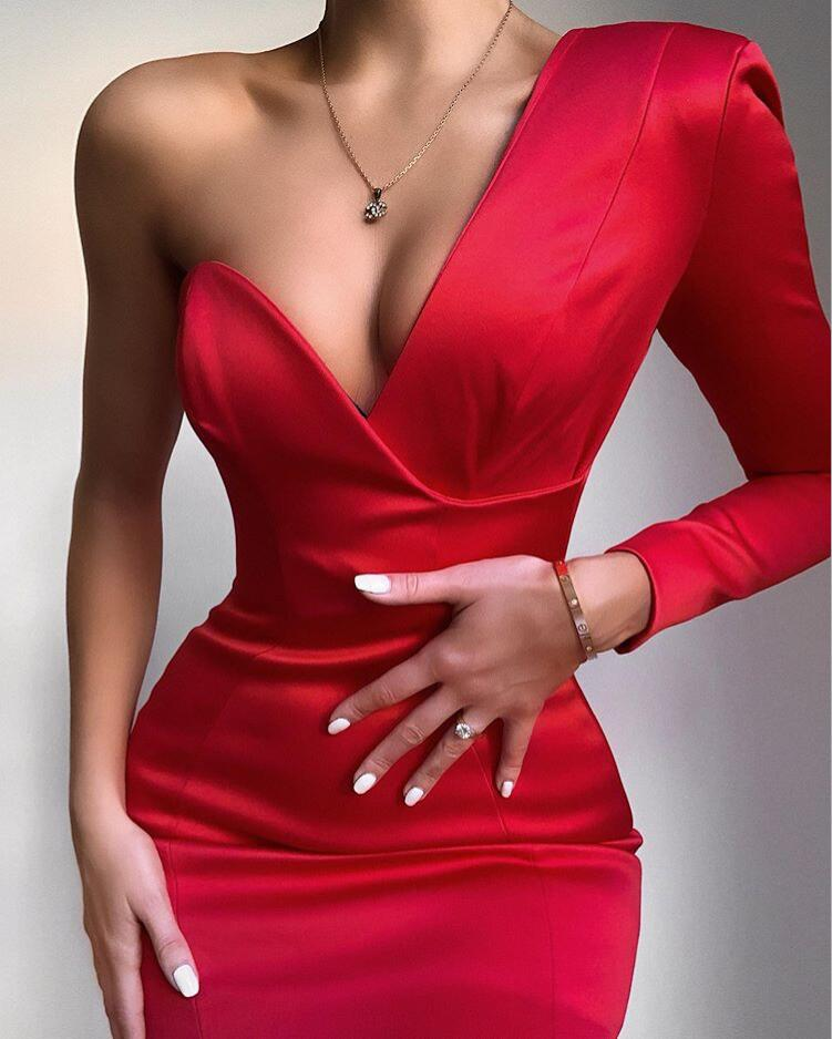 <font><b>Bodycon</b></font> <font><b>Women</b></font> Winter <font><b>Dress</b></font> 2020 <font><b>Sexy</b></font> Single Sleeve Red White Designer Fashion Evening Party <font><b>Dress</b></font> Vestido image