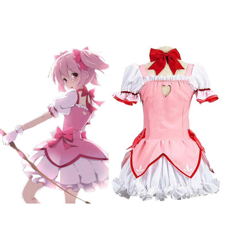 Anime Puella Magi Madoka Magica Madoka Cosplay Gadis Kaname Madoka Cosplay Kostum Wanita Kaname Madoka Dress Halloween Kostum untuk Wanita