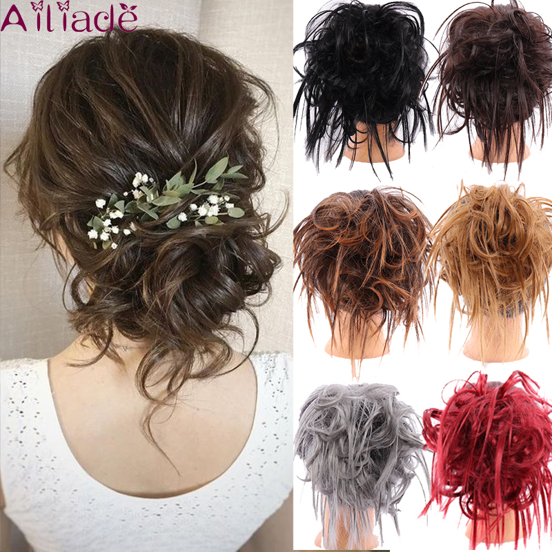 AILIADE High Temperature Synthetic Curly Messy Bun Tousled Hairpiece Elastic Rubber Bands Scrunchie Updo Chignon Hair Extension