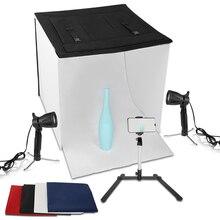 60x60 см софтбоксы для фотостудии складной настольный светильник для фотосъемки, набор палаток с задником из 4 предметов, Светодиодный точечный светильник и зажим для телефона