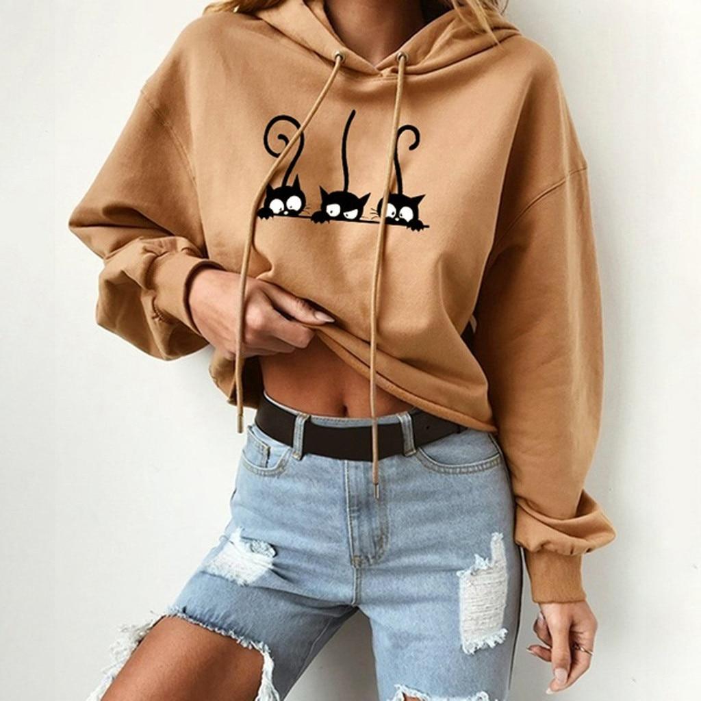 Womens Cat Print Solid Long Sleeve Hoodie Sweatshirt Hooded Pullover Tops harajuku Blouse moletom streetwear busos para mujer
