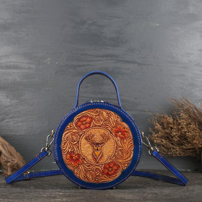 Кожаная женская сумка в стиле ретро, кожаная оригинальная женская сумка с наклонным ремешком, кожаная маленькая круглая сумка с резным узором - 2