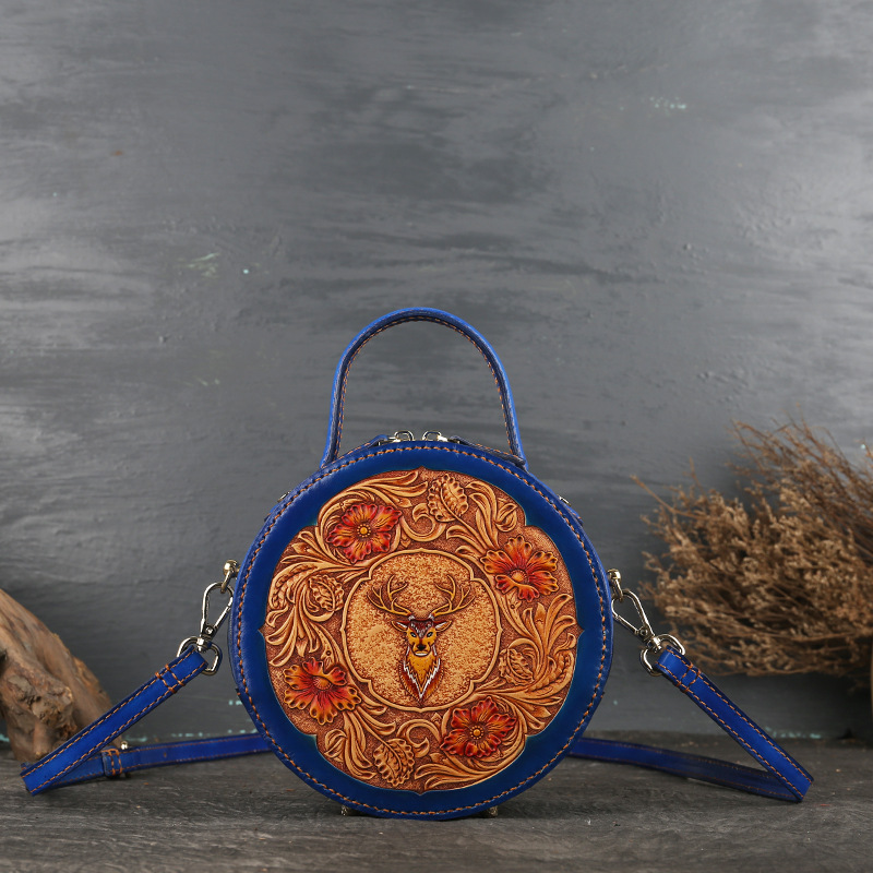 Leather women's bag retro head leather original women's slanted handbag leather carved small round bag - 2
