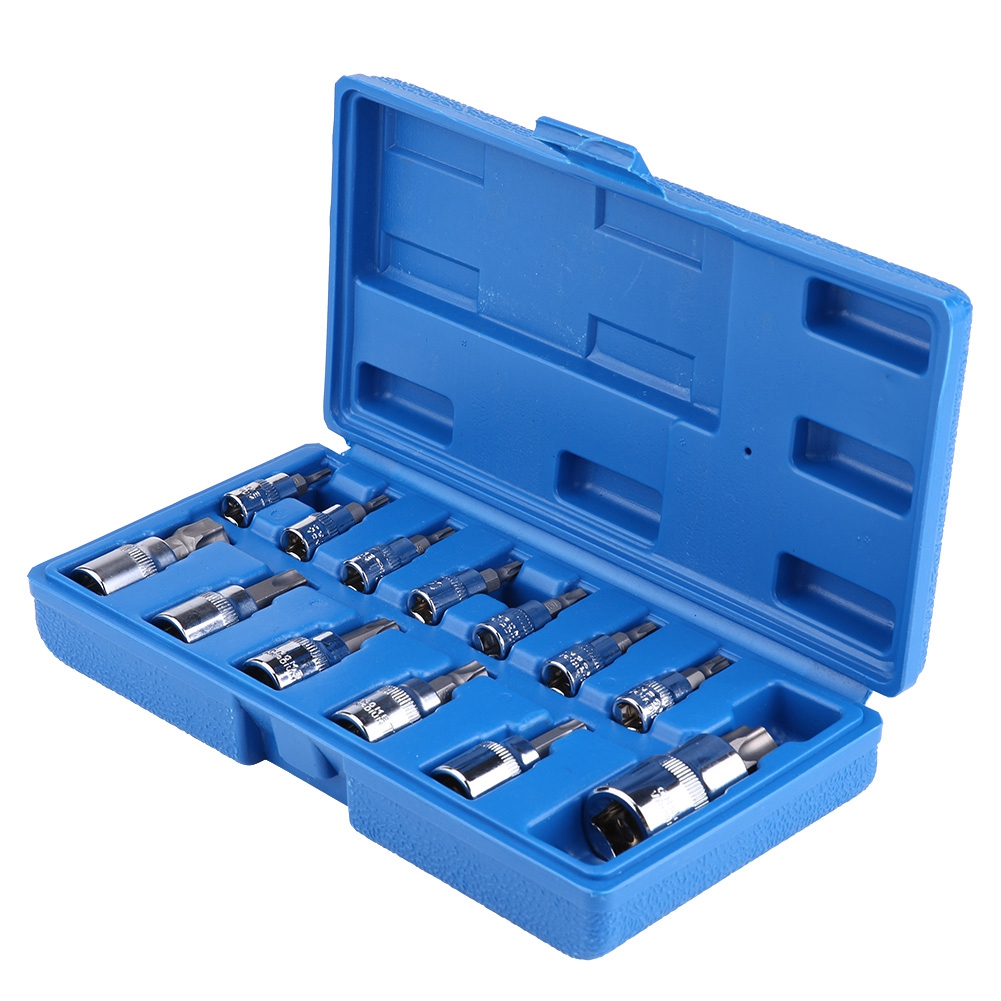 13Pcs <font><b>Male</b></font> Female Torx Star Socket Bit Set Sockets Torx Bit Set 1/4 <font><b>3/8</b></font> <font><b>1/2</b></font> inch Drive Torx Socket Set with plastic Storage Case image