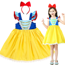 Ins Hot snow white princess dress girls summer cotton comfortable short sleeve Halloween party cosplay costume