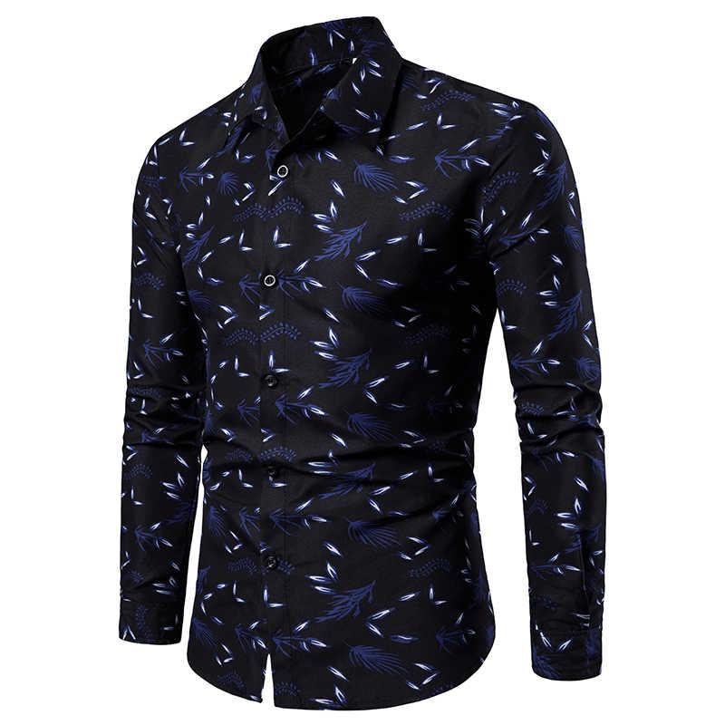 2019 신사용 프린트 셔츠 남성 슬림 피트 롱 슬리브 셔츠 남성용 레드 블랙 플로랄 프린트 캐주얼 셔츠 플러스 사이즈 M-4XL
