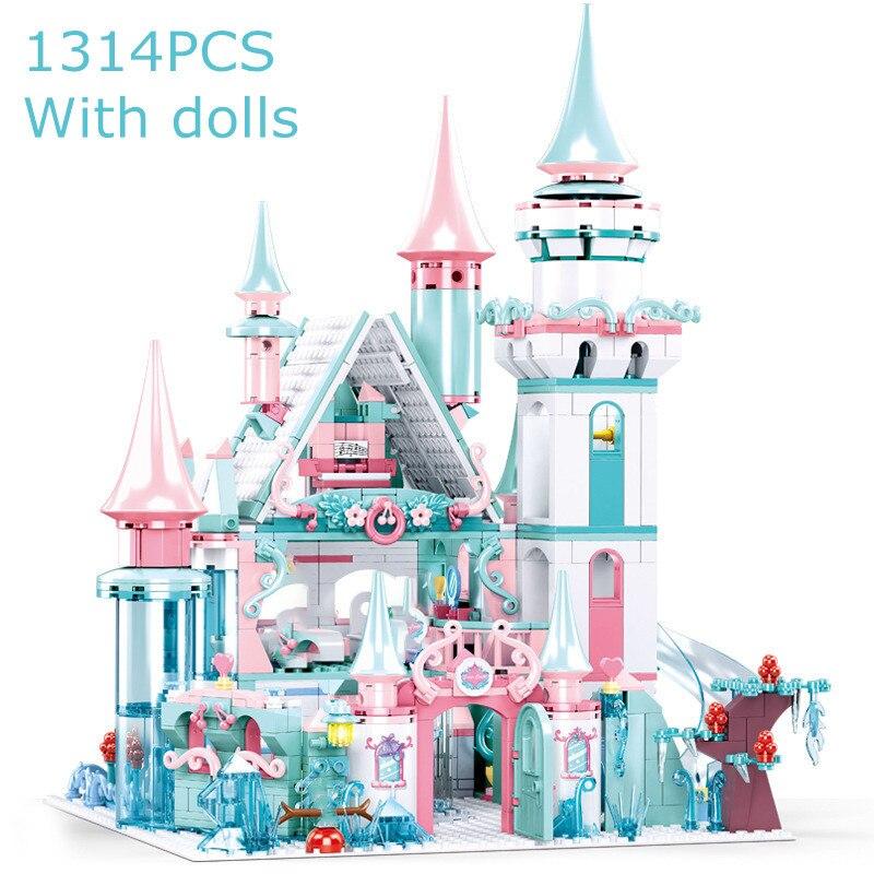 1314 шт. ледяной замок Строительные блоки Друзья фигурки принцесс кирпичи замок комплект девочки строительные блоки образовательные игрушки...