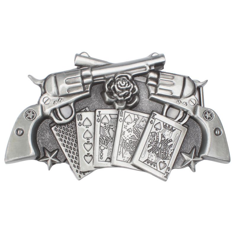 Revolver Belt Buckle Playing Card Roses Belt Buckle Waistband DIY Components For 3.8cm 4cm Belt