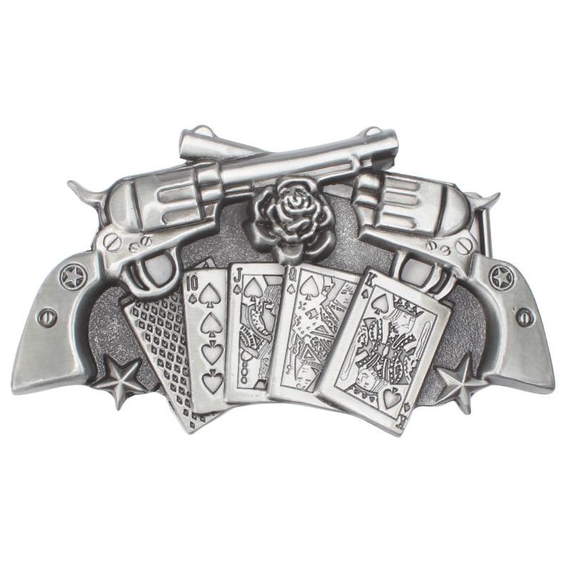 Revolver Belt Buckle Playing Card Roses Belt Buckle Waistband DIY Components For 3.8cm 4cm Belt