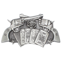 Revolver belt Buckle Playing card roses buckle waistband DIY Components for 3.8cm 4cm