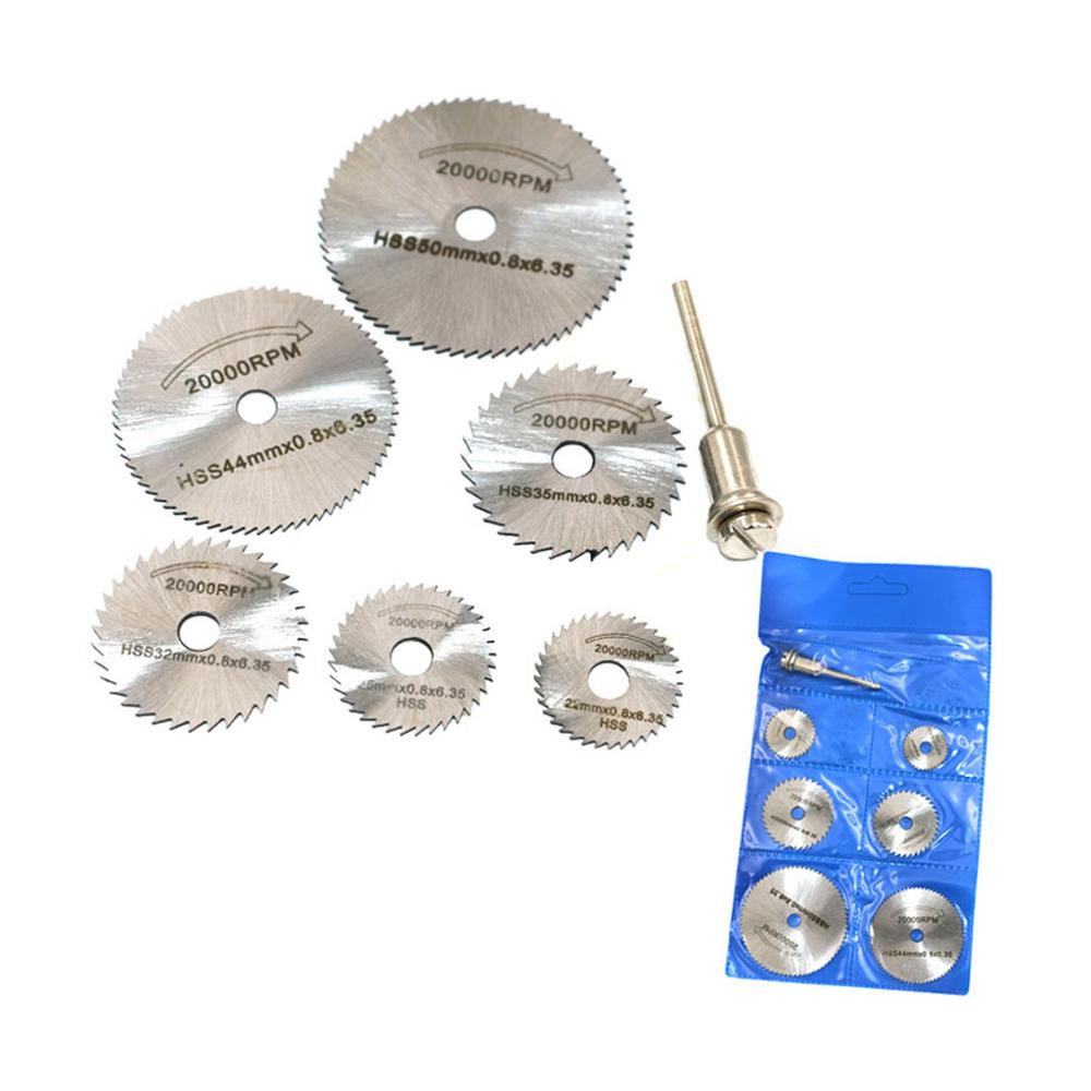 7pcs/set Mini High Speed Steel Saw Web Circular Rotary Cutting Blade Wheel Discs Mandrel Electric Grinding Accessories