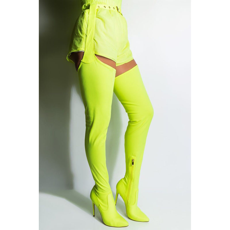 2019 Newest Sexy Neon Green Crotch High Boots Belted Thigh High Boots Stiletto Chap Boots Women Pointied Toe Over The Knee Boots in Over the Knee Boots from Shoes