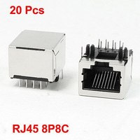 """20 Pcs Stainless Steel Shell 8P8C RJ45 PCB Jack Connector 0.7"""" x 0.6"""" x 0.5""""