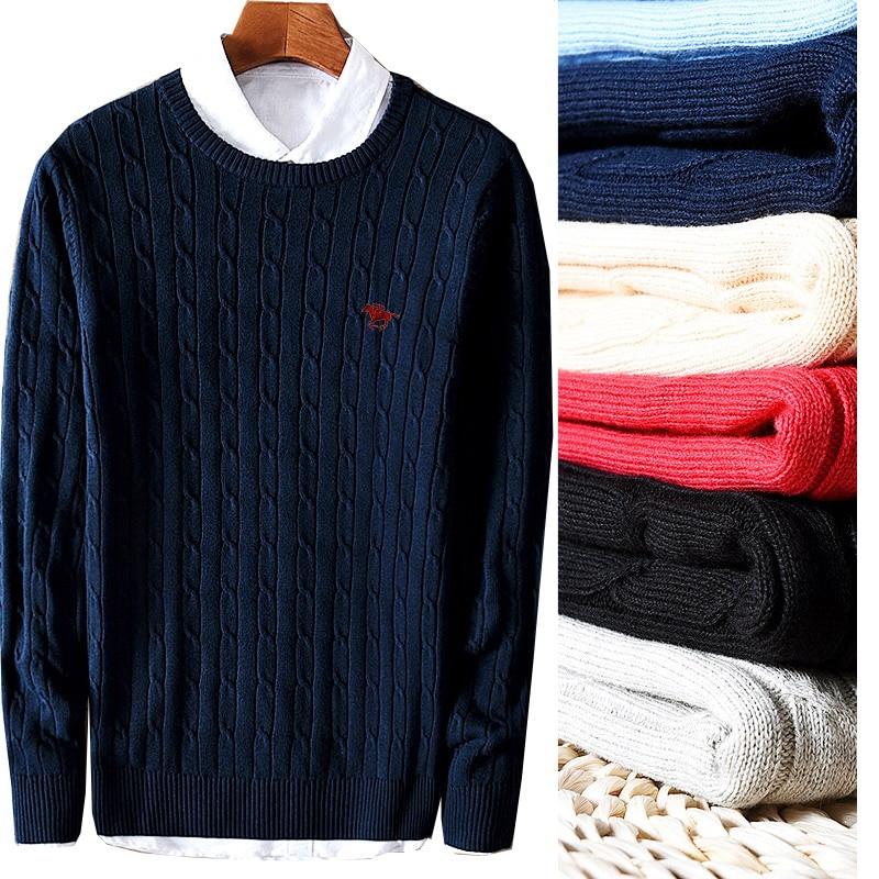 Top Quality Men's Sweater Long Sleeve Round Neck Cotton Knitwear Twist Twist Twist Stripe Fit Pullover Topknit Shirt 8519