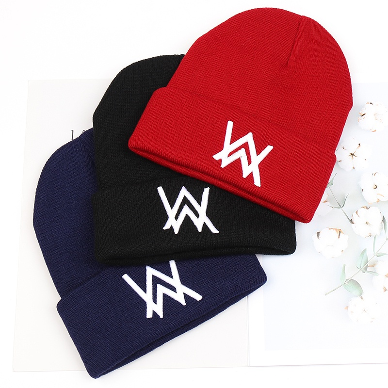 Fashion Alan Walker Embroidery Beanie Hats Women Men Cool  Winter Warm Ski Hat Unisex Hip Hop Caps Knit AW Skullies Bonnet