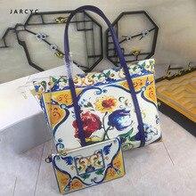 цена на Luxury Italy Brand Ethnic Style Bag Leather Women Shopper Tote Famous Designer Printed Shoulder Bag Genuine Leather Big Handbag