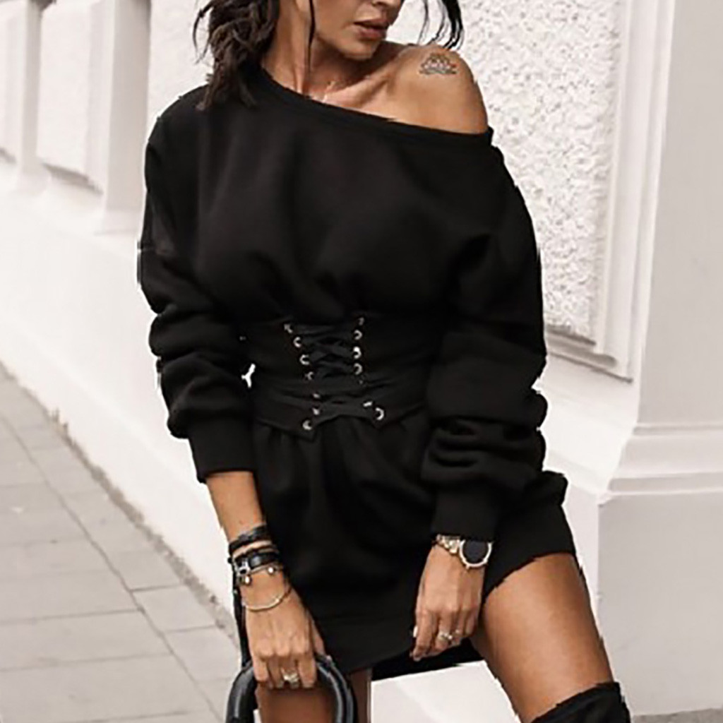Women s Solid O neck Long Sleeve Fleece Thick Dress Waistband Belt Bandage