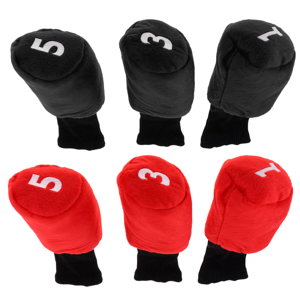 6 Pieces Durable Golf Head Cover Headcover Protector Protective Bag For Driver Fairway Wood Head Black & Red