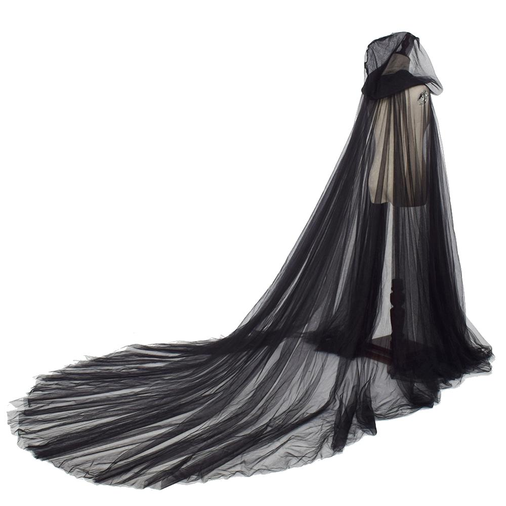Womens Vintage Tulle Cloak Cape Fashion Elegant Boho Gothic Fairy Soft 2.4m Length Long Hood Cloaks