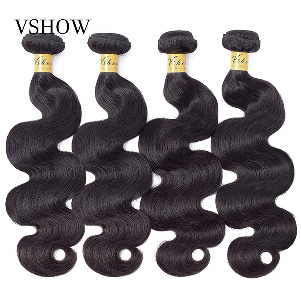 VSHOW Cambodian Body Wave Human Hair Bundles Natural Color 3 Or 4 Bundles Deal High Ratio Remy Human Hair Extensions