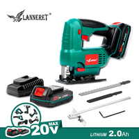 LANNERET Cordless Jig Saw 20V Electric Saw 3 Orbital and Straight Cut Adjustable working Angle with Wood Metal Blades Electric Saws     -