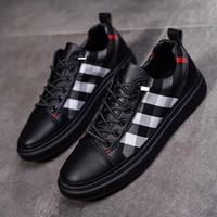 Men's Casual Shoes Men Black Skate Sneakers Leather Designer Luxury Breathable Flats Checked Canvas Shoes Lazy Shoelaces