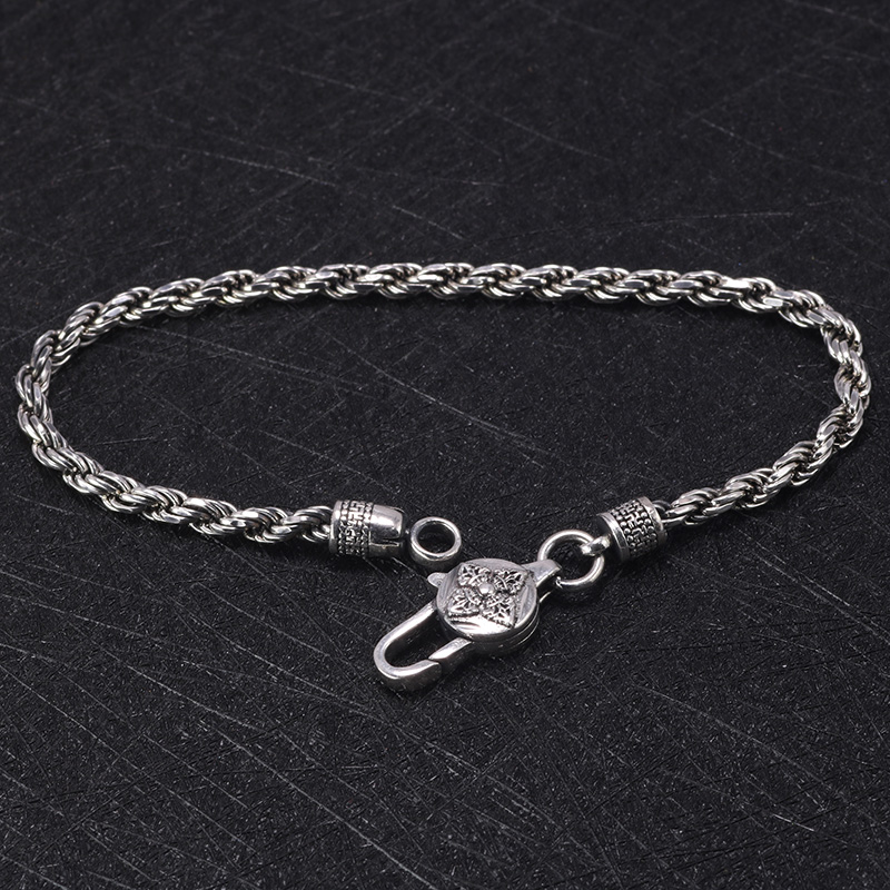 Image 3 - Real 925 Sterling Silver Braided Rope Chain Bracelets Tibetan  Buddhism Mantra Six Words And Vajra Engraved Prayer JewelryStrand  Bracelets