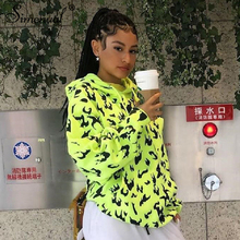 Simenual Casual Fashion 2019 Neon Women Hoodies Long Sleeve Autumn Winter Streetwear Sporty Sweatshirts Flame Print Oversize Top