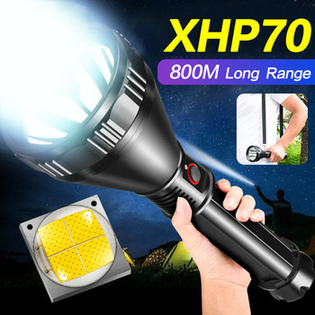 Portable Lighting Flashlights & Torches Powerful XHP70/50 LED Aluminum alloy Flashlight Rechargeable 4 Modes Torch 26650 image